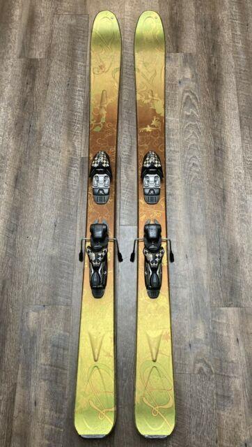 K2 153 Cm Women's Powder Skis Wide Green Gold With Marker 12.0 Bindings
