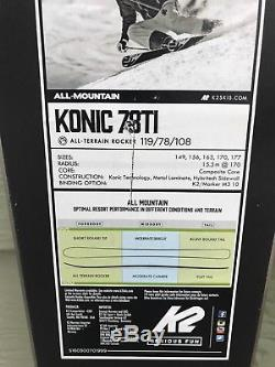 K2 Konic 78 Ti Ski with Marker M3 10 TC Bindings 177 cm NEW