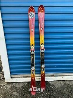K2 T Nine Shaped Skis Burnin Luv Breast Cancer 153 Marker Bindings Womens
