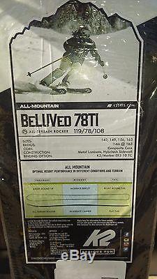 K2 Women Skis Beluved 156cm with Marker Bindings BRAND NEW still in plastic