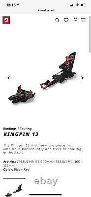 Marker kingpin 13 Ski Bindings. BRAND NEW NEVER USED